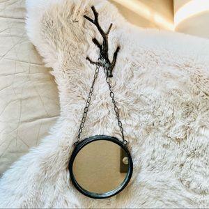 """6"""" Hanging Metal Mirror & Bracket   Antique Bronze"""